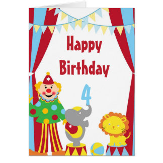 Cartoon Circus Clown and Animals Birthday Card