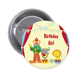 Cartoon Circus Clown and Animals Birthday Girl But 6 Cm Round Badge