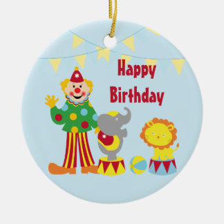 Cartoon Circus Clown and Animals Ornament