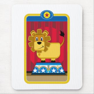 Cartoon Circus Lion on Podium Mouse Mat