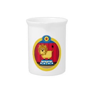 Cartoon Circus Lion on Podium Pitcher