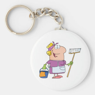 Cartoon Cleaning Lady Basic Round Button Key Ring