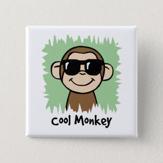 Cartoon Clip Art Cool Monkey with Sunglasses 15 Cm Square Badge
