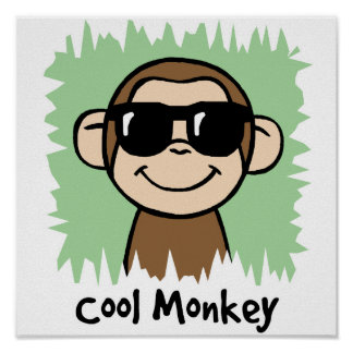 Cartoon Clip Art Cool Monkey with Sunglasses Poster