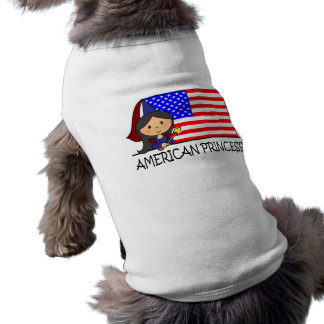 Cartoon Clip Art Cute American Princess Flag Sleeveless Dog Shirt