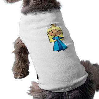 Cartoon Clip Art Cute Blond Princess in Blue Dress Sleeveless Dog Shirt