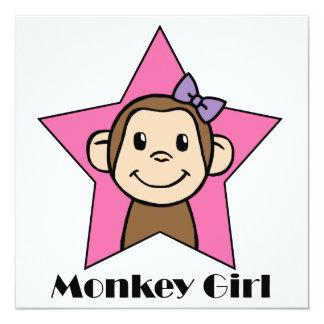 Cartoon Clip Art Cute Monkey Girl Birthday Party 13 Cm X 13 Cm Square Invitation Card