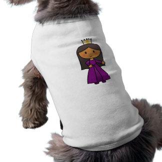 Cartoon Clip Art Cute Princess with Tiara Sleeveless Dog Shirt
