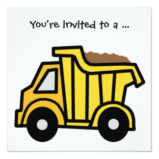 Cartoon Clip Art Dump Truck Boy Birthday Party Card