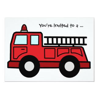 Cartoon Clip Art Firetruck Boy Birthday Party 13 Cm X 18 Cm Invitation Card