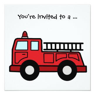 Cartoon Clip Art Firetruck Boy Birthday Party 13 Cm X 13 Cm Square Invitation Card