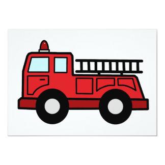 Cartoon Clip Art Firetruck Emergency Vehicle Truck 13 Cm X 18 Cm Invitation Card