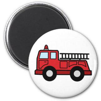 Cartoon Clip Art Firetruck Emergency Vehicle Truck 6 Cm Round Magnet