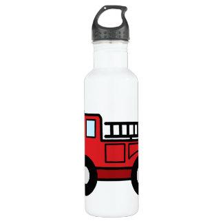 Cartoon Clip Art Firetruck Emergency Vehicle Truck 710 Ml Water Bottle