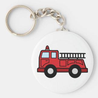 Cartoon Clip Art Firetruck Emergency Vehicle Truck Basic Round Button Key Ring