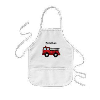 Cartoon Clip Art Firetruck Emergency Vehicle Truck Kids Apron