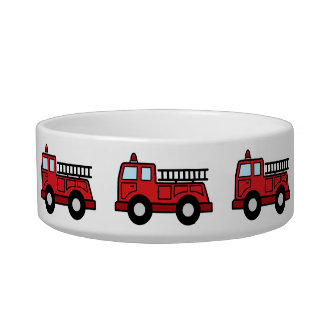 Cartoon Clip Art Firetruck Emergency Vehicle Truck Pet Bowls