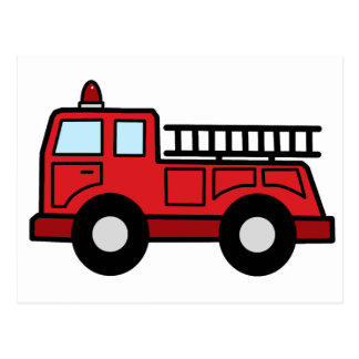 Cartoon Clip Art Firetruck Emergency Vehicle Truck Postcard
