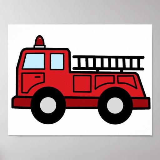 Cartoon Clip Art Firetruck Emergency Vehicle Truck Print