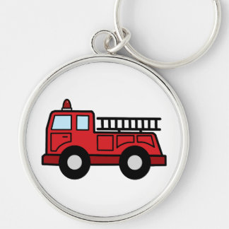 Cartoon Clip Art Firetruck Emergency Vehicle Truck Silver-Colored Round Key Ring