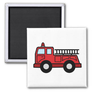 Cartoon Clip Art Firetruck Emergency Vehicle Truck Square Magnet