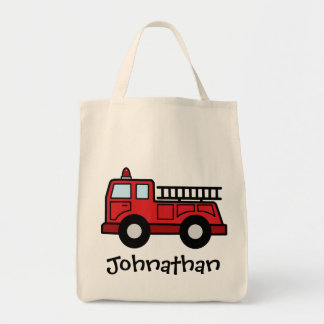 Cartoon Clip Art Firetruck Emergency Vehicle Truck Tote Bag