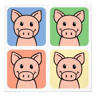 Cartoon Clip Art Laughing Piggie Piggy Pigs! Personalized Invite