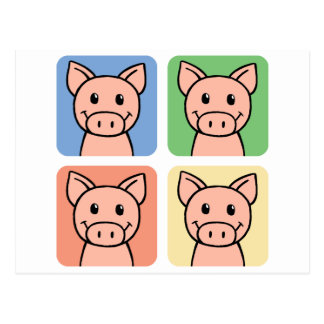 Cartoon Clip Art Laughing Piggie Piggy Pigs! Postcard