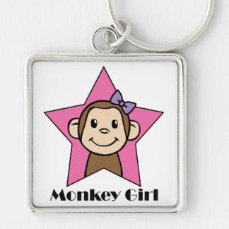 Cartoon Clip Art Smile Monkey Girl Pink Star Bow Keychain