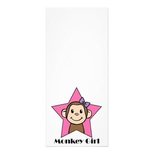 Cartoon Clip Art Smile Monkey Girl Pink Star Bow Custom Rack Card