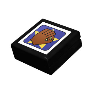 Cartoon Clip Art Sports Baseball Glove Gold Star Keepsake Box