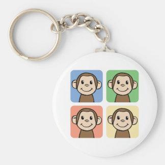 Cartoon Clip Art with 4 Happy Monkeys Basic Round Button Key Ring