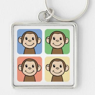 Cartoon Clip Art with 4 Happy Monkeys Keychains