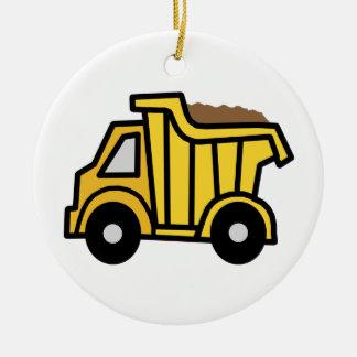Cartoon Clip Art with a Construction Dump Truck Christmas Ornament