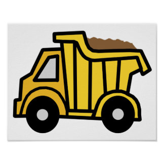 Cartoon Clip Art with a Construction Dump Truck Posters