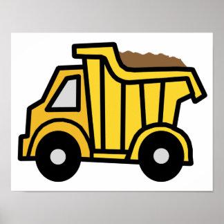 Cartoon Clip Art with a Construction Dump Truck Poster