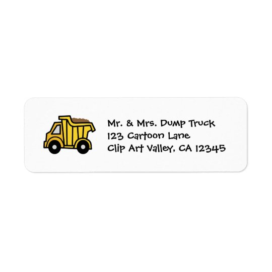 Cartoon Clip Art with a Construction Dump Truck Return Address Label