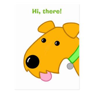 Cartoon Closeup of Airedale Terrier Dog Postcard