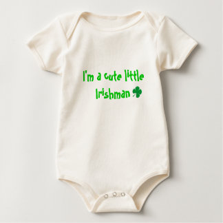 cartoon clover, I'm a cute little Irishman Baby Bodysuit