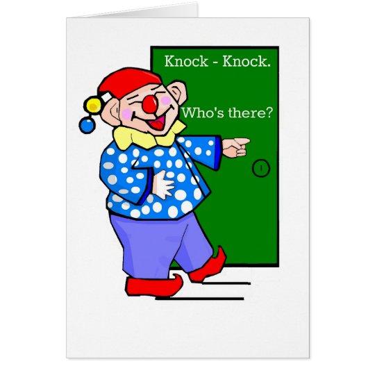 Cartoon Clown Knock-Knock Joke Birthday Card