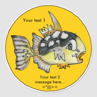 Cartoon Clown Trigger Fish Design Custom Sticker