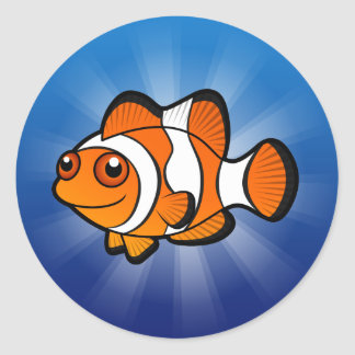 Cartoon Clownfish Classic Round Sticker
