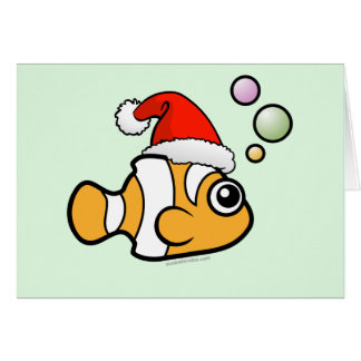 Cartoon Clownfish Santa Greeting Card
