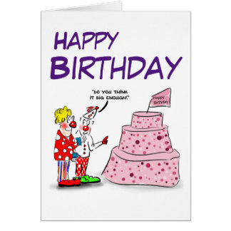 Cartoon clowns & cake Happy birthday card