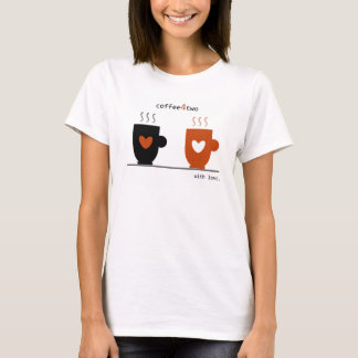 Cartoon Coffee Warm Love For Two Simple White Cool T-Shirt