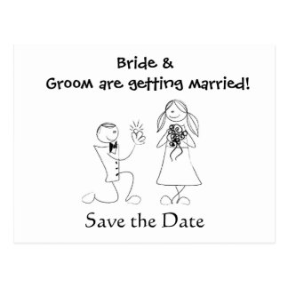 Cartoon Couple Wedding Save the Date Post Cards