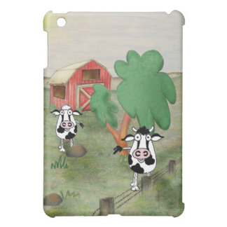 Cartoon cow and bull standing in front of a barn. iPad mini cover