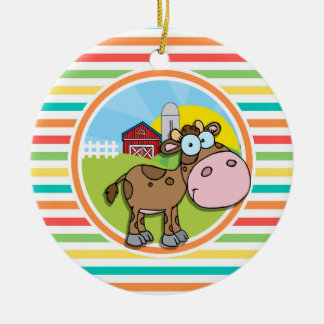 Cartoon Cow; Bright Rainbow Stripes Double-Sided Ceramic Round Christmas Ornament