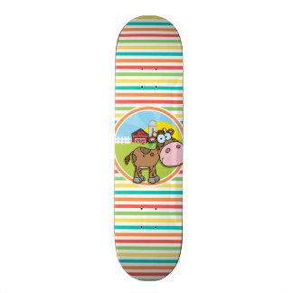 Cartoon Cow Bright Rainbow Stripes Skate Deck