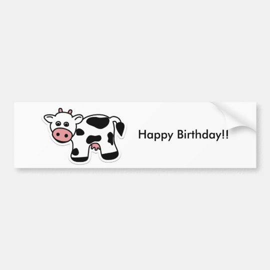 Cartoon Cow Bumper Sticker